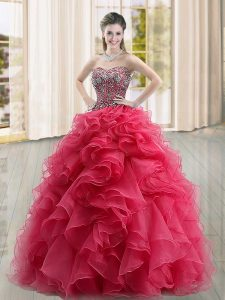 Sleeveless Lace Up Floor Length Beading and Ruffles Ball Gown Prom Dress