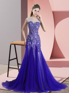 Blue Sleeveless Sweep Train Beading and Appliques Prom Gown