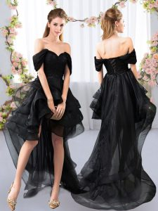 Black Tulle Lace Up Dama Dress Short Sleeves High Low Lace and Ruffled Layers