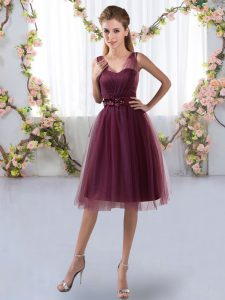 Sleeveless Knee Length Appliques Zipper Court Dresses for Sweet 16 with Burgundy