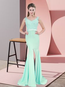 New Style Apple Green Homecoming Dress Prom and Party and Military Ball with Beading and Lace and Appliques V-neck Sleeveless Sweep Train Zipper