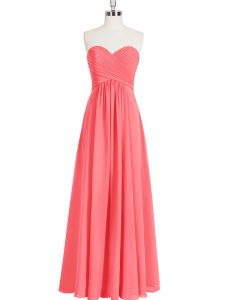 Sleeveless Chiffon Floor Length Zipper Prom Dresses in Watermelon Red with Ruching