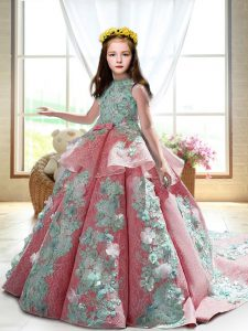 Fashionable Backless Child Pageant Dress Watermelon Red for Wedding Party with Appliques Court Train