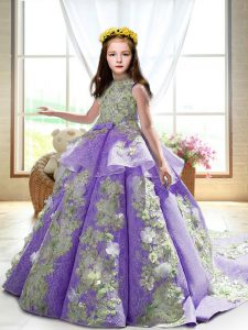 Custom Fit Satin High-neck Sleeveless Court Train Backless Appliques Girls Pageant Dresses in Lavender
