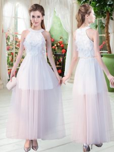 Scoop Sleeveless Prom Party Dress Ankle Length Appliques White Tulle