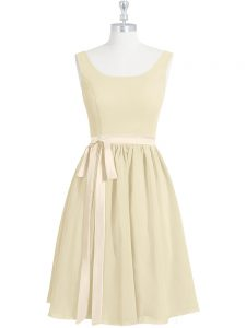 Light Yellow A-line Belt Prom Gown Zipper Chiffon Sleeveless Mini Length