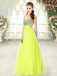 Sleeveless Lace Up Floor Length Beading Dress for Prom