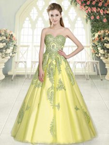 Floor Length A-line Sleeveless Yellow Green Prom Dresses Lace Up