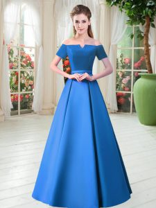 Off The Shoulder Short Sleeves Satin Prom Gown Belt Lace Up