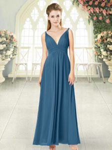High Class Blue Sleeveless Ruching Ankle Length Evening Dress
