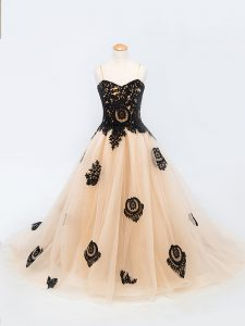 Glorious Brush Train A-line Pageant Gowns For Girls Peach Spaghetti Straps Tulle Sleeveless Lace Up