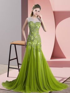 Fantastic Sleeveless Beading and Appliques Backless Prom Gown with Olive Green Sweep Train