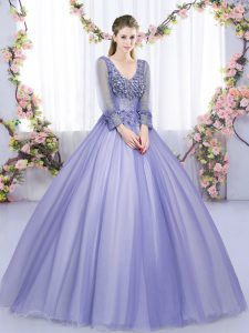 Lavender Long Sleeves Floor Length Lace and Appliques Lace Up Quinceanera Gown