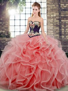 Fashionable Watermelon Red Sweet 16 Quinceanera Dress Tulle Sweep Train Sleeveless Embroidery and Ruffles