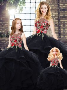 Beading and Embroidery 15 Quinceanera Dress Black Lace Up Sleeveless Floor Length