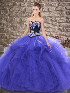 Sweetheart Sleeveless Lace Up Quinceanera Dress Purple Tulle