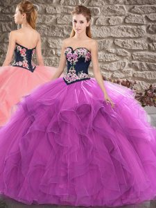 Free and Easy Tulle Sleeveless Floor Length Quinceanera Dresses and Beading and Embroidery