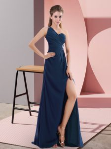 Navy Blue Backless Prom Gown Beading and Ruching Sleeveless Sweep Train
