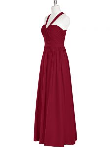 Halter Top Sleeveless Zipper Homecoming Dress Burgundy Chiffon
