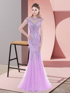 Designer Lilac Scoop Zipper Beading and Lace Prom Party Dress Sweep Train Cap Sleeves
