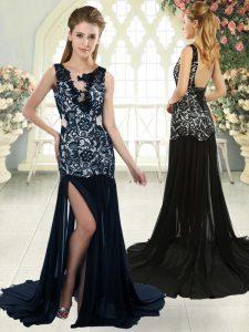 Navy Blue Sleeveless Chiffon Brush Train Backless Prom Dresses for Prom and Party