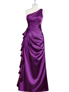 Lovely Elastic Woven Satin Sleeveless Floor Length Going Out Dresses and Beading and Ruching and Pleated
