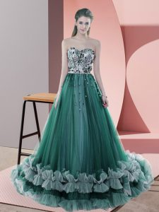 Dark Green Sleeveless Tulle Sweep Train Lace Up Prom Dresses for Prom and Party and Military Ball