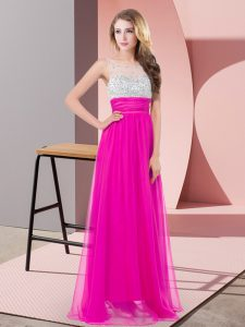Graceful Chiffon Scoop Sleeveless Side Zipper Sequins Prom Gown in Fuchsia