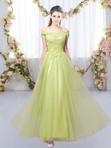 Yellow Green Sleeveless Lace Floor Length Dama Dress