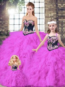 High Class Beading and Embroidery Quinceanera Dress Fuchsia Lace Up Sleeveless Floor Length