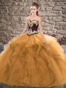Orange Ball Gowns Sweetheart Sleeveless Tulle Floor Length Lace Up Beading and Embroidery Quinceanera Gown