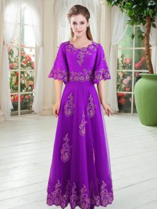 Floor Length Lace Up Prom Evening Gown Purple for Prom and Party with Lace
