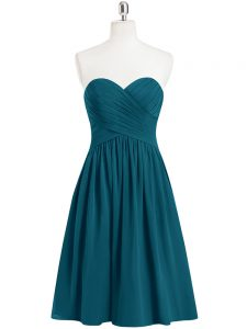 Sleeveless Knee Length Pleated Zipper Prom Evening Gown with Teal