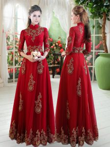 Best Selling Wine Red Tulle Zipper High-neck 3 4 Length Sleeve Floor Length Evening Outfits Lace