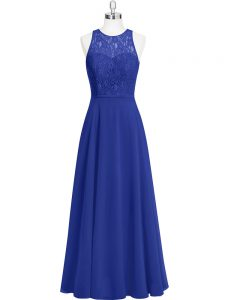 Lace Royal Blue Zipper Sleeveless Floor Length