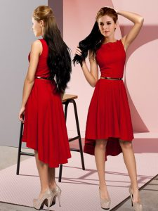 Spectacular Red Sleeveless High Low Belt Lace Up Homecoming Dress