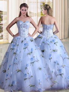 Popular Lavender Lace Up Sweetheart Beading Quinceanera Gown Printed Sleeveless