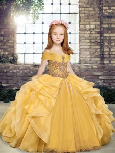 Gold Lace Up Little Girl Pageant Gowns Beading and Ruffles Sleeveless Floor Length