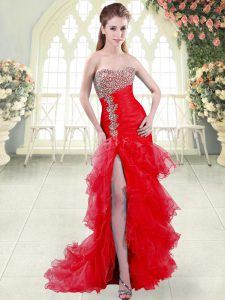 Flare Sweetheart Sleeveless Brush Train Lace Up Red Organza