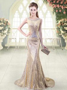 Gold Zipper Scoop Beading Prom Evening Gown Sequined Sleeveless Brush Train