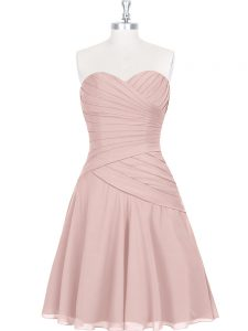 Edgy Pink Sleeveless Ruching and Pleated Mini Length Prom Dresses