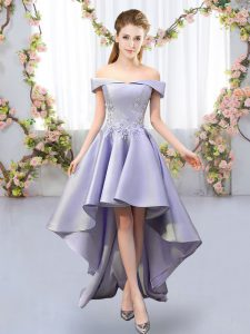 Lavender Satin Lace Up Damas Dress Sleeveless High Low Appliques