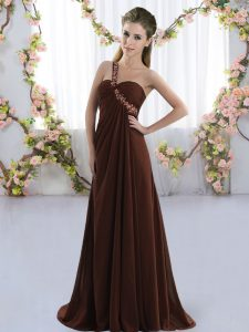 Brown Sleeveless Chiffon Brush Train Lace Up Dama Dress for Prom and Party