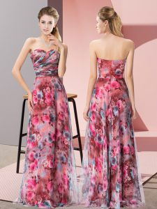 Fantastic Multi-color Dress for Prom Prom and Party with Pattern Sweetheart Sleeveless Zipper