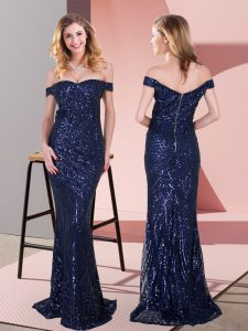 Navy Blue Sequined Zipper Off The Shoulder Sleeveless Floor Length Prom Dress Ruching
