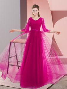 Shining A-line Evening Party Dresses Pink and Fuchsia V-neck Tulle Long Sleeves Floor Length Zipper