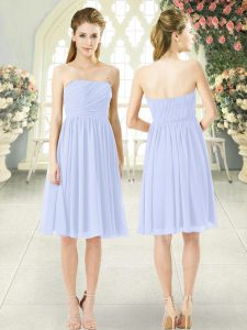Charming Baby Blue Empire Chiffon Strapless Sleeveless Ruching Knee Length Side Zipper Prom Dresses