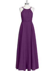 Floor Length Empire Sleeveless Eggplant Purple Homecoming Dress Zipper
