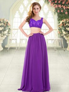 Exquisite Floor Length Two Pieces Sleeveless Purple Prom Evening Gown Zipper