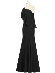 Floor Length Black Prom Gown One Shoulder Sleeveless Side Zipper